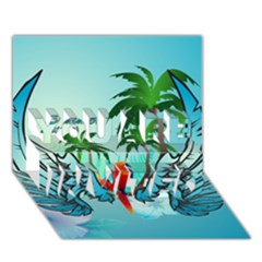 Summer Design With Cute Parrot And Palms You Are Invited 3d Greeting Card (7x5)