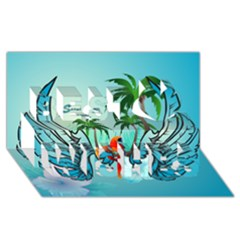 Summer Design With Cute Parrot And Palms Best Wish 3d Greeting Card (8x4)
