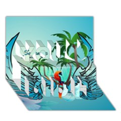 Summer Design With Cute Parrot And Palms You Did It 3d Greeting Card (7x5)