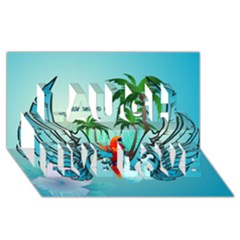 Summer Design With Cute Parrot And Palms Laugh Live Love 3d Greeting Card (8x4)