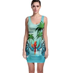 Summer Design With Cute Parrot And Palms Bodycon Dresses