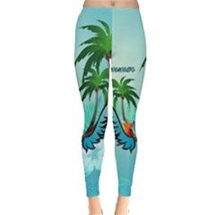 Summer Design With Cute Parrot And Palms Women s Leggings
