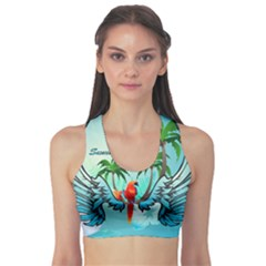 Summer Design With Cute Parrot And Palms Sports Bra by FantasyWorld7