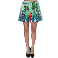 Summer Design With Cute Parrot And Palms Skater Skirts