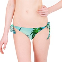 Summer Design With Cute Parrot And Palms Bikini Bottoms