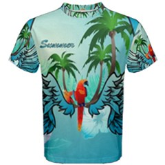 Summer Design With Cute Parrot And Palms Men s Cotton Tees