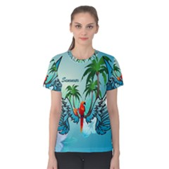 Summer Design With Cute Parrot And Palms Women s Cotton Tees