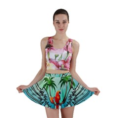 Summer Design With Cute Parrot And Palms Mini Skirts