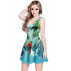 Summer Design With Cute Parrot And Palms Reversible Sleeveless Dresses
