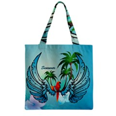 Summer Design With Cute Parrot And Palms Grocery Tote Bags