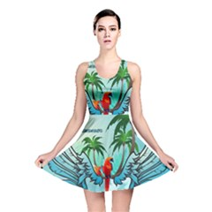 Summer Design With Cute Parrot And Palms Reversible Skater Dresses