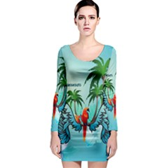 Summer Design With Cute Parrot And Palms Long Sleeve Bodycon Dresses