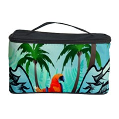 Summer Design With Cute Parrot And Palms Cosmetic Storage Cases