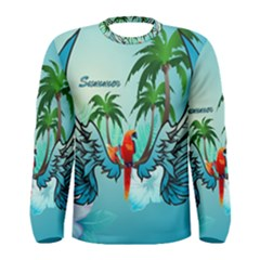 Summer Design With Cute Parrot And Palms Men s Long Sleeve T-shirts