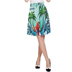 Summer Design With Cute Parrot And Palms A Line Skirts