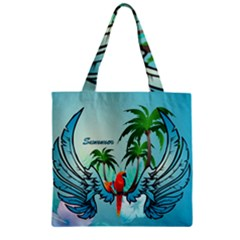 Summer Design With Cute Parrot And Palms Zipper Grocery Tote Bags