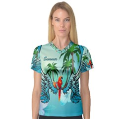 Summer Design With Cute Parrot And Palms Women s V Neck Sport Mesh Tee