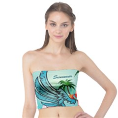 Summer Design With Cute Parrot And Palms Women s Tube Tops