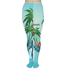 Summer Design With Cute Parrot And Palms Women s Tights