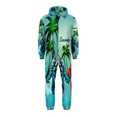 Summer Design With Cute Parrot And Palms Hooded Jumpsuit (kids)