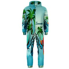 Summer Design With Cute Parrot And Palms Hooded Jumpsuit (men)