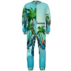 Summer Design With Cute Parrot And Palms Onepiece Jumpsuit (men)