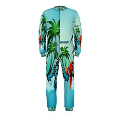 Summer Design With Cute Parrot And Palms Onepiece Jumpsuit (kids)