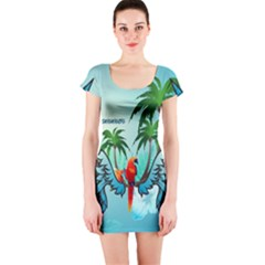 Summer Design With Cute Parrot And Palms Short Sleeve Bodycon Dresses
