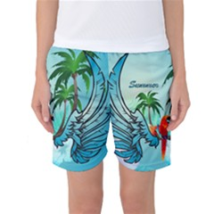 Summer Design With Cute Parrot And Palms Women s Basketball Shorts