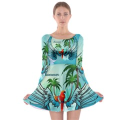 Summer Design With Cute Parrot And Palms Long Sleeve Skater Dress