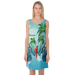 Summer Design With Cute Parrot And Palms Sleeveless Satin Nightdresses