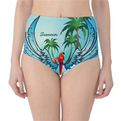 Summer Design With Cute Parrot And Palms High-waist Bikini Bottoms