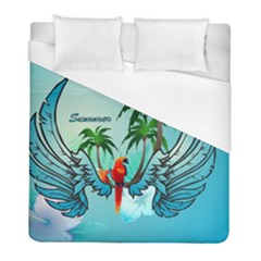 Summer Design With Cute Parrot And Palms Duvet Cover Single Side (twin Size)