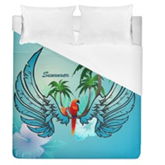 Summer Design With Cute Parrot And Palms Duvet Cover Single Side (full/queen Size)
