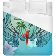 Summer Design With Cute Parrot And Palms Duvet Cover Single Side (kingsize)