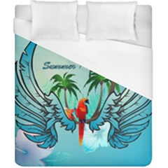 Summer Design With Cute Parrot And Palms Duvet Cover Single Side (double Size)