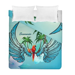 Summer Design With Cute Parrot And Palms Duvet Cover (twin Size)