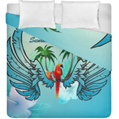 Summer Design With Cute Parrot And Palms Duvet Cover (king Size)