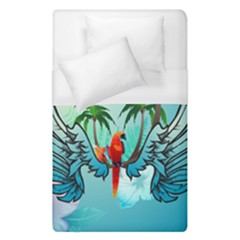 Summer Design With Cute Parrot And Palms Duvet Cover Single Side (single Size)