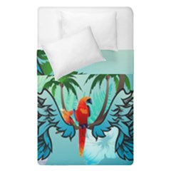 Summer Design With Cute Parrot And Palms Duvet Cover (single Size)