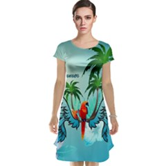 Summer Design With Cute Parrot And Palms Cap Sleeve Nightdresses