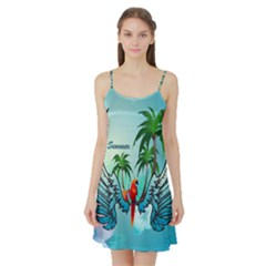 Summer Design With Cute Parrot And Palms Satin Night Slip