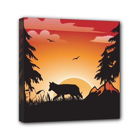 The Lonely Wolf In The Sunset Mini Canvas 6  X 6  by FantasyWorld7