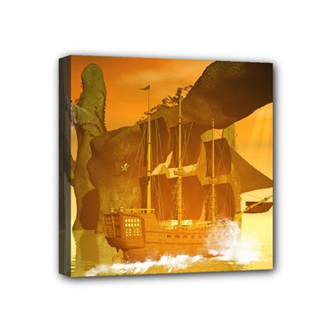 Awesome Sunset Over The Ocean With Ship Mini Canvas 4  X 4  by FantasyWorld7