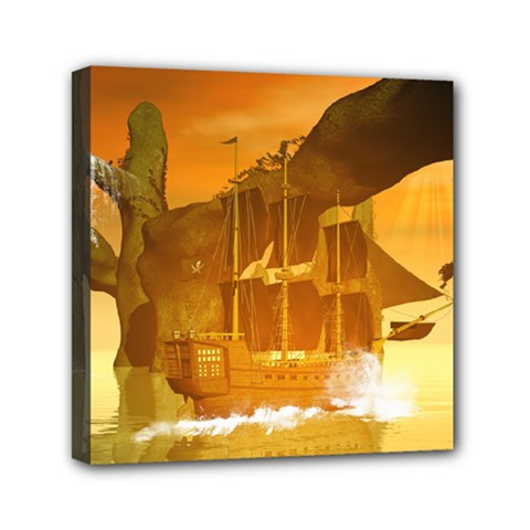 Awesome Sunset Over The Ocean With Ship Mini Canvas 6  X 6  by FantasyWorld7