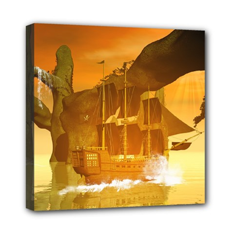 Awesome Sunset Over The Ocean With Ship Mini Canvas 8  X 8  by FantasyWorld7