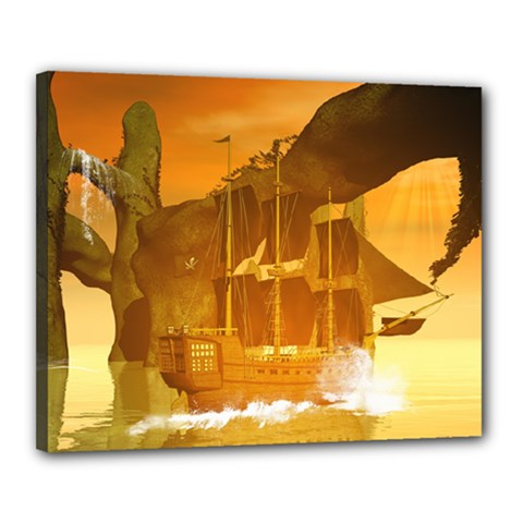 Awesome Sunset Over The Ocean With Ship Canvas 20  X 16  by FantasyWorld7