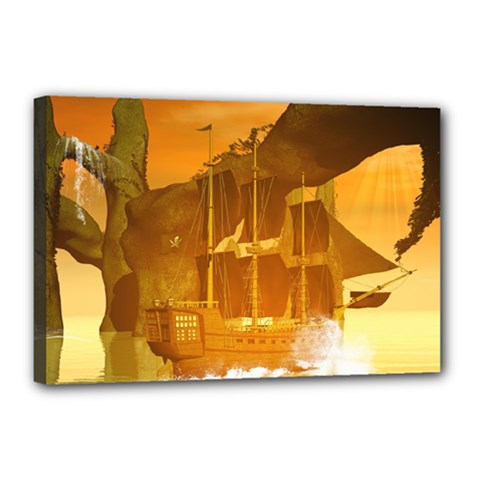 Awesome Sunset Over The Ocean With Ship Canvas 18  X 12  by FantasyWorld7