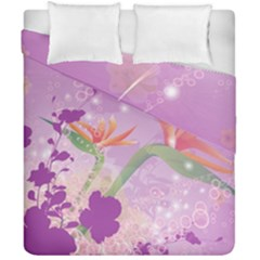 Wonderful Flowers On Soft Purple Background Duvet Cover (double Size) by FantasyWorld7