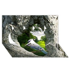 Bird In The Tree 2 Twin Hearts 3d Greeting Card (8x4)